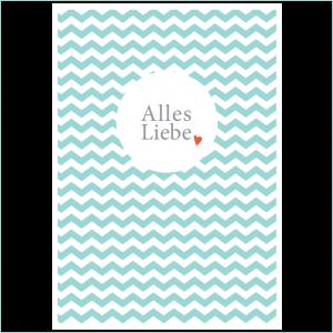 Kinder-Postkarte Alles Liebe blau